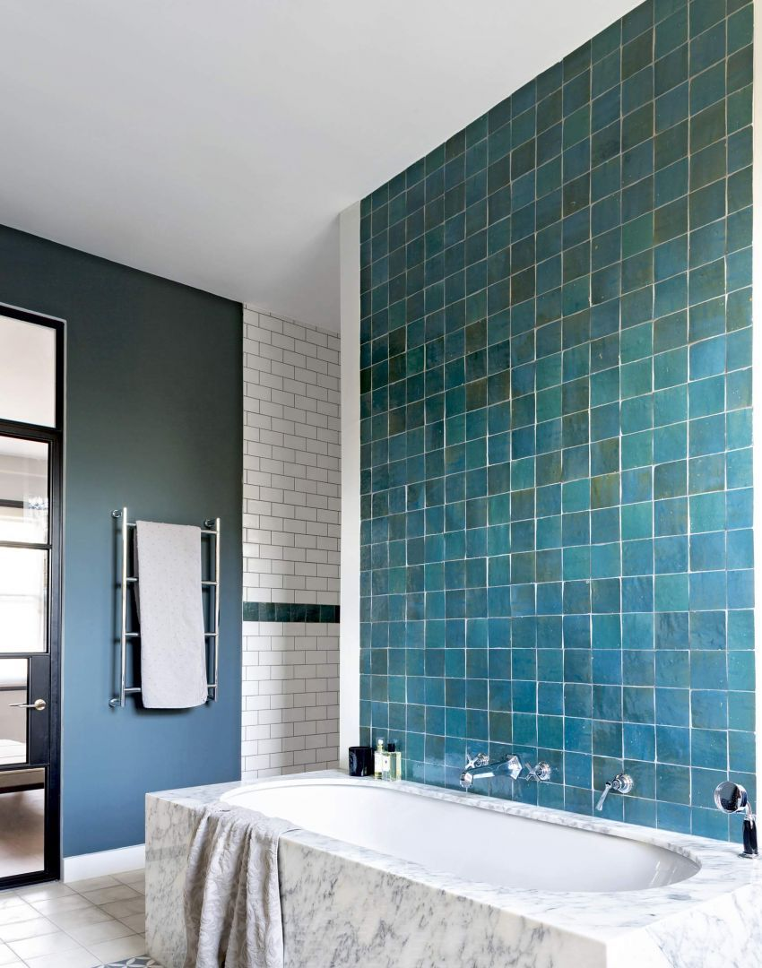 Marble And Monochrome Bathroom With Blue Feature Walls The Room Edit Monochrome Bathroom Bathroom Style Green Bathroom