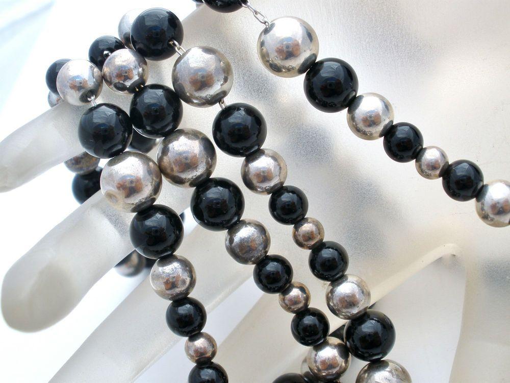 "Sterling Silver Dobbs Necklace Bracelet Black Onyx Bead 24"" Long 7.5"" Vintage  #Dobbs #Bead"