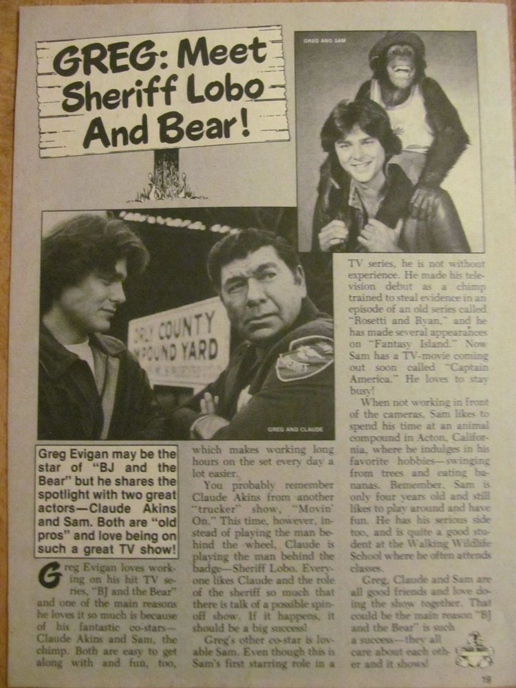 Greg Evigan, BJ and the Bear, Full Page Vintage Clipping
