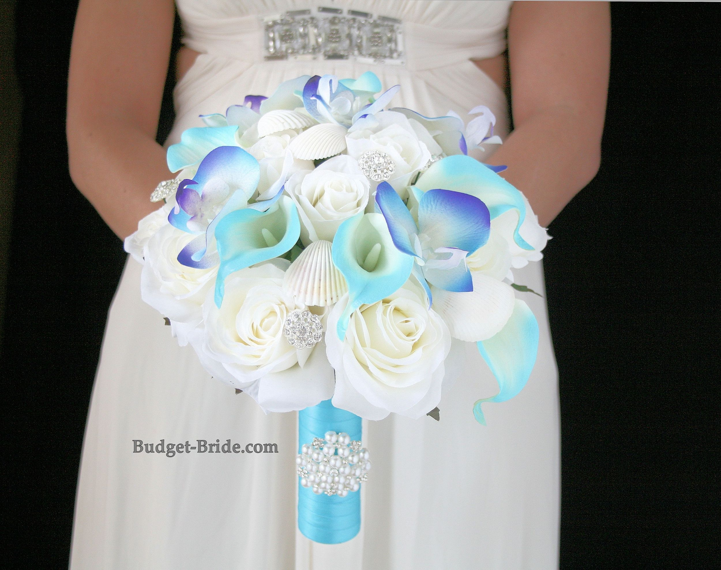 Beach Theme wedding flowers with Malibu blue handle accented with ...
