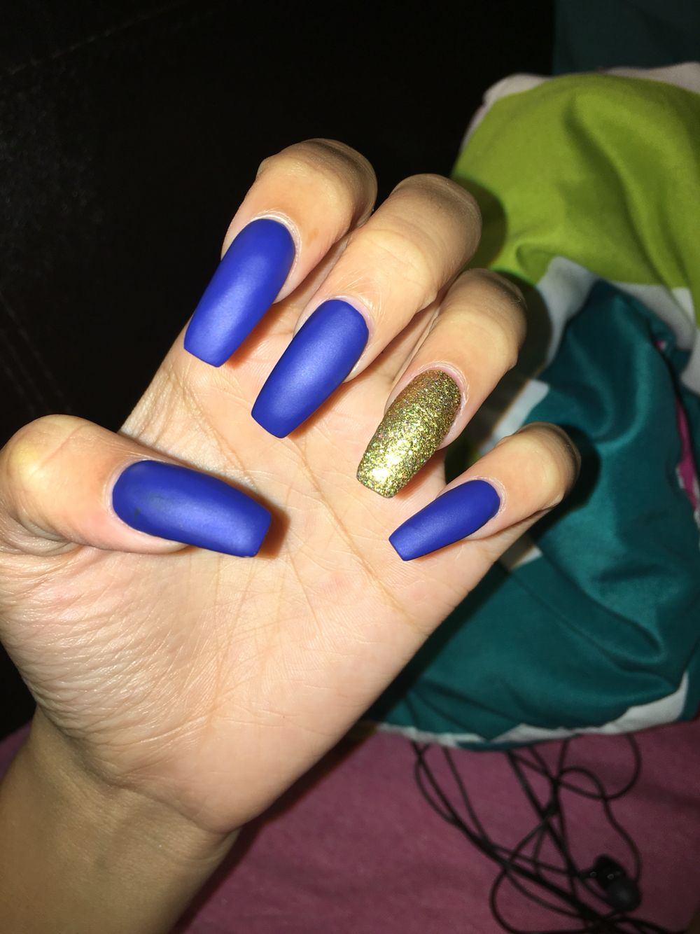 Slightly coffined matte royal blue and gold nails | Nails ...