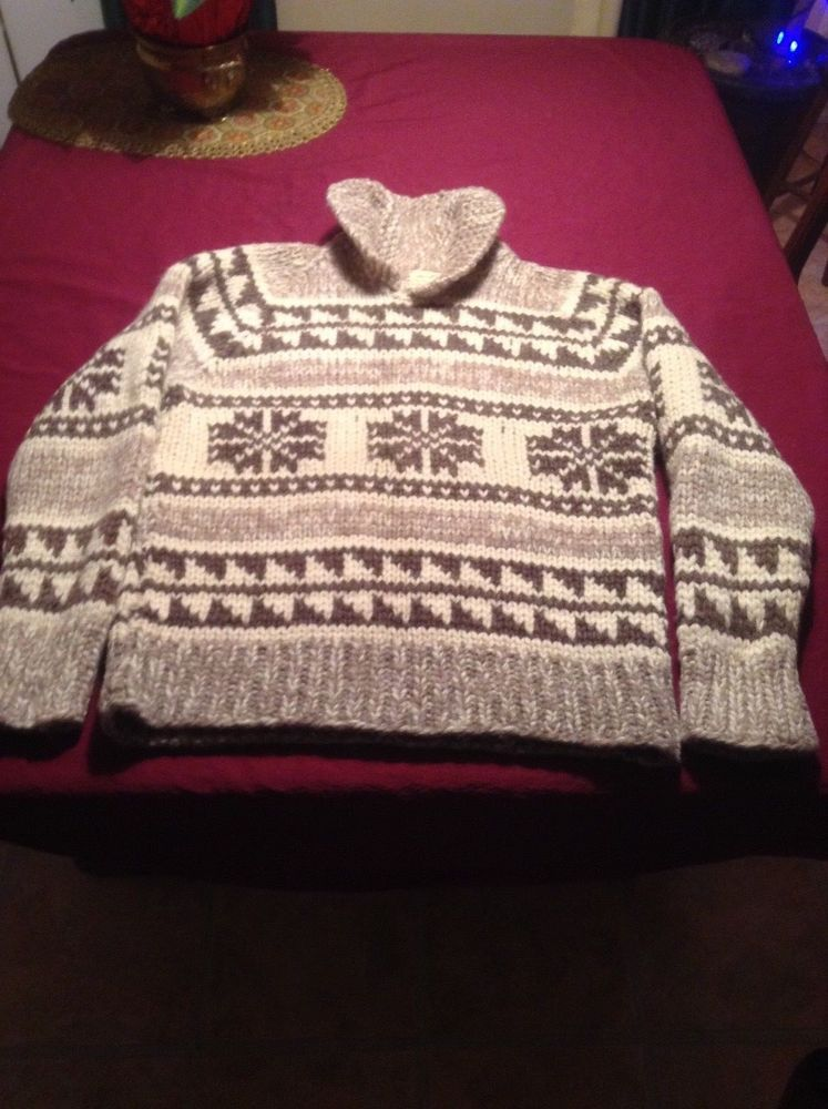 2f71a3d40 VTG Heavy Wool Cowichan Sweater Snowflakes 70s Cowl Neck Collar ...