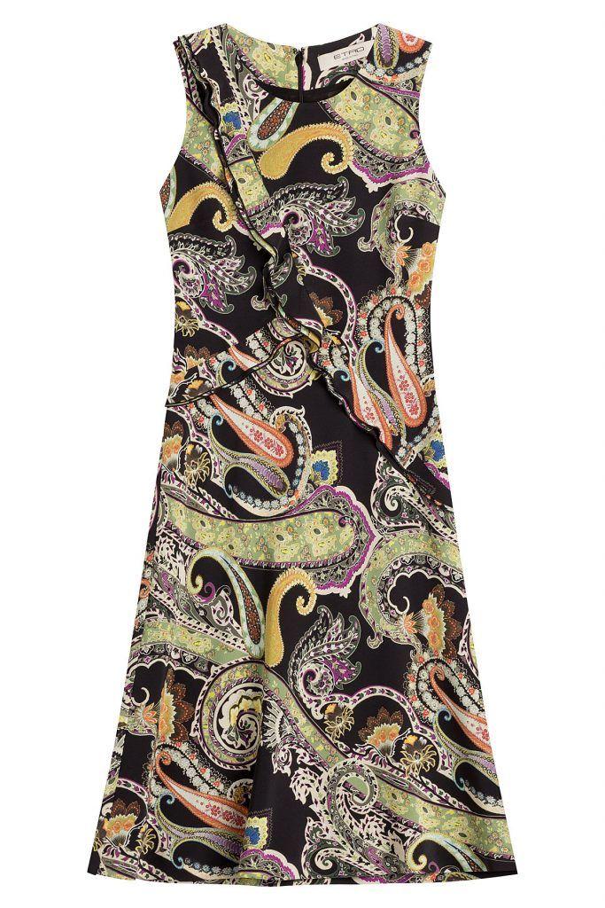 #Etro #Print, #Kleid aus #Seide #, #Multicolor für #Damen - Funktioniert immer und überall  >  vor allem am Wochenende: Das sommerliche Print > Kleid aus fließender Seide, mit gerüschten Bordüren und dem für Etro typischen Paisley > Print  >  ein eleganter Eyecatcher mit Wiedererkennungswert!  >  Seide mit Multicolor > Print, Rundhals, verdeckter Reißverschluss am Rücken  >  Schmal geschnitten  >  Tragen wir mit Stilettos und einer Clutch