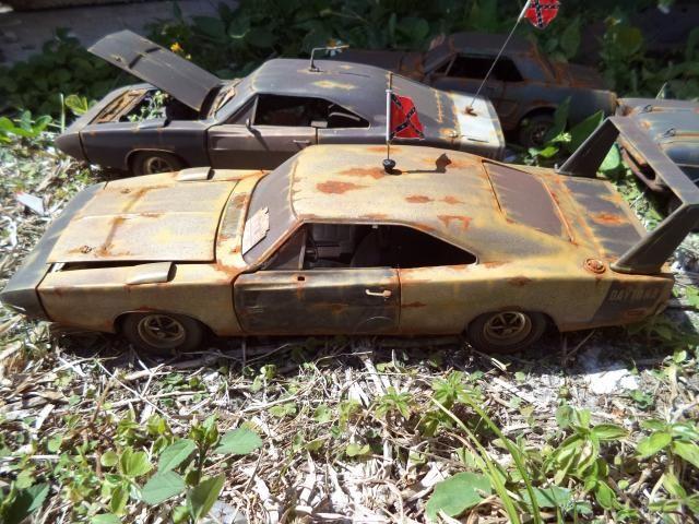 1 18 1969 dodge daytona charger unrestored junker diorama barn yard demolition vieilles. Black Bedroom Furniture Sets. Home Design Ideas