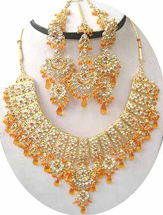 Gold Diamond Bollywood Jewelry Set JVS58 Bridal Jewelry