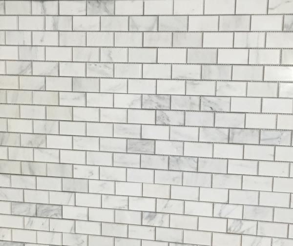 Polished Carrara Marble Beveled Brick Subway Tile Mesh Backing Easy