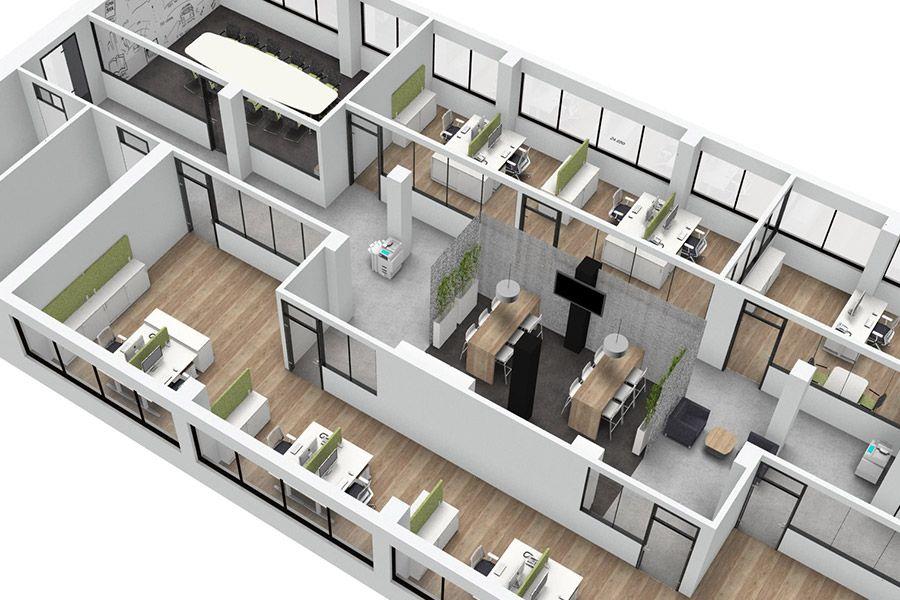 moderne burokonzepte grundriss, visualisierung von büroumgebungen | raumkonzepte | pinterest | buero, Design ideen