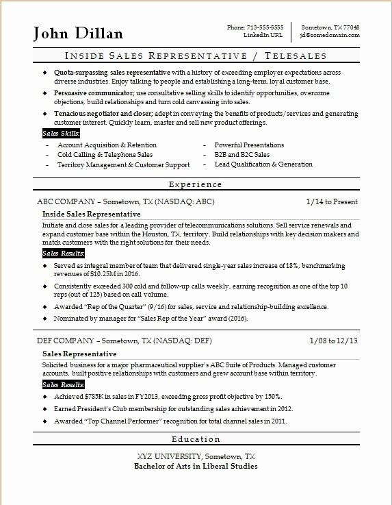 Inspirational Inside Sales Rep Resume Sample In 2020
