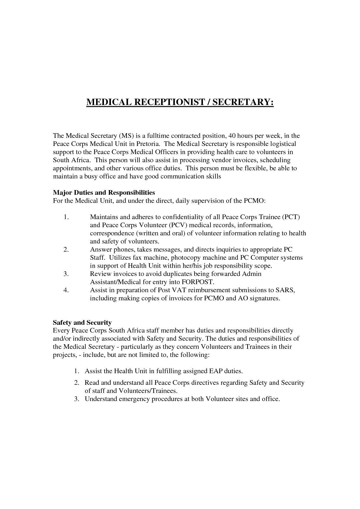 26+ Medical Receptionist Cover Letter Cover letter for
