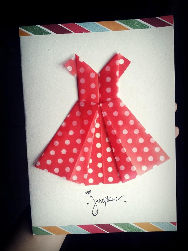 Cards With Origami Dresses How To Make A Origami Dress Birthday Card The Paperback Diary Origami Dress Birthday Cards Card Craft