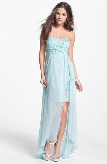 Hailey by Adrianna Papell Strapless Sequin Chiffon Overlay Gown ...