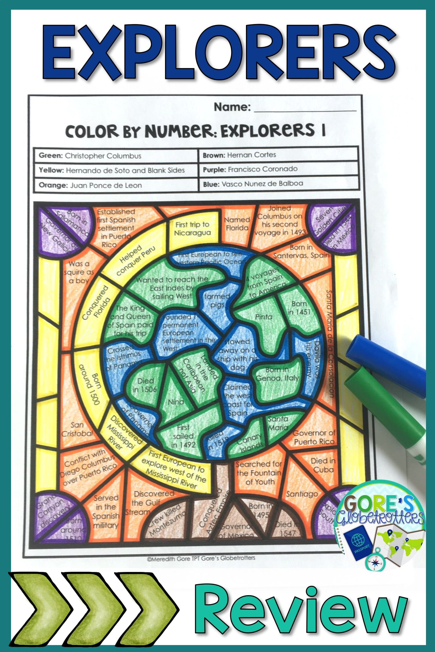Your upper elementary students will LOVE this Explorers Color by Number  Activity! This p…   Explorers activities [ 2250 x 1500 Pixel ]