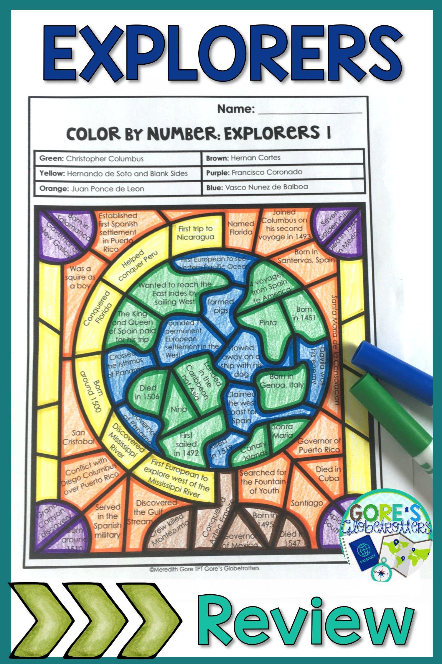 Social Studies Explorers Color by Number Worksheet | Education ...