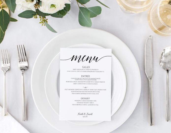 Wedding Menu Template Instant Download EDITABLE TEXT - ms word menu template