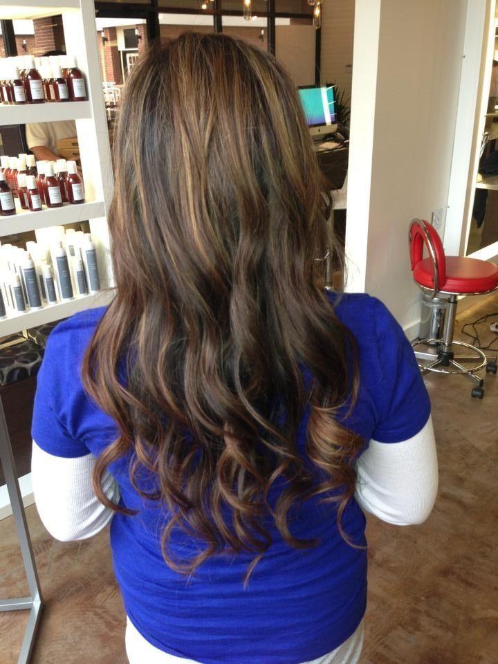 Chestnut Brown Hair Color With Caramel Highlights Via