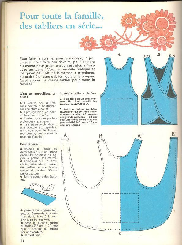 tablier-croisc3a9jpg (595×800) Сделай сам Pinterest Apron and - Poser Papier A Peindre
