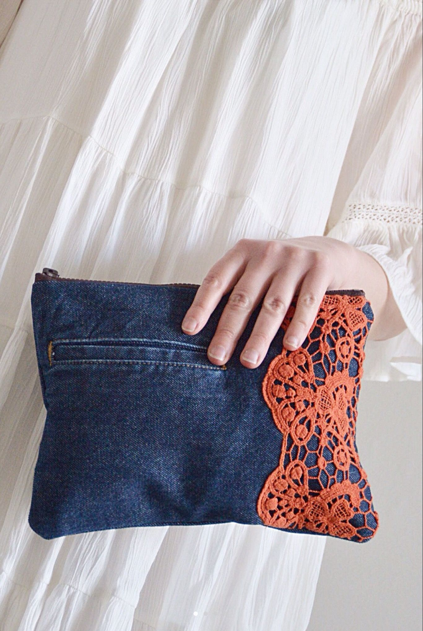 Denim Clutch with Orange Lace – elegant and festive handbag for her, dark denim upcycled from blue jeans