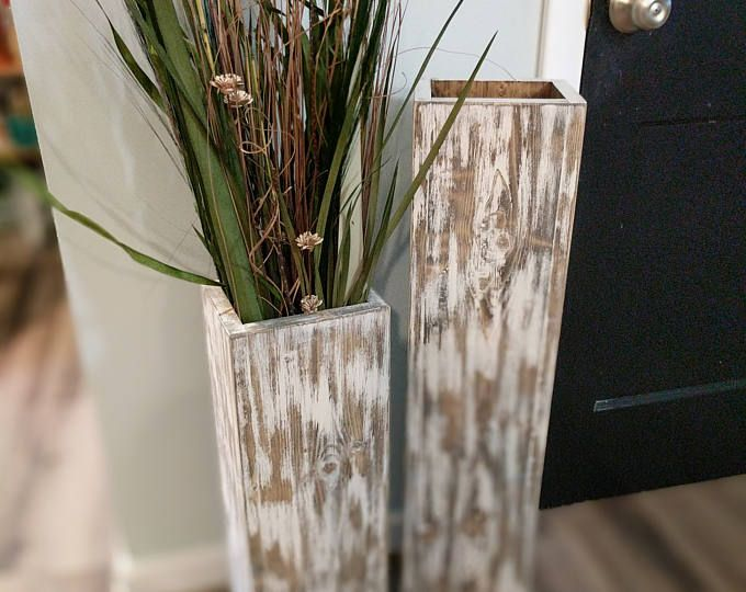 Wide 32 And 24 Tall Rustic Floor Vases Wooden Vases Home Decor