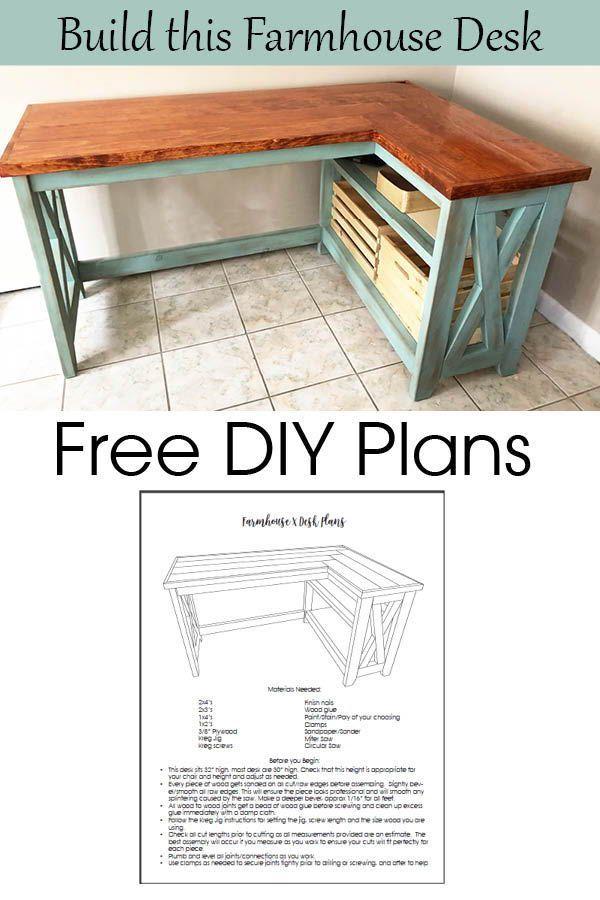 Free Diy Farmhouse Desk Plans In 2020 Diy Desk Plans Diy Furniture Plans Diy Furniture Projects