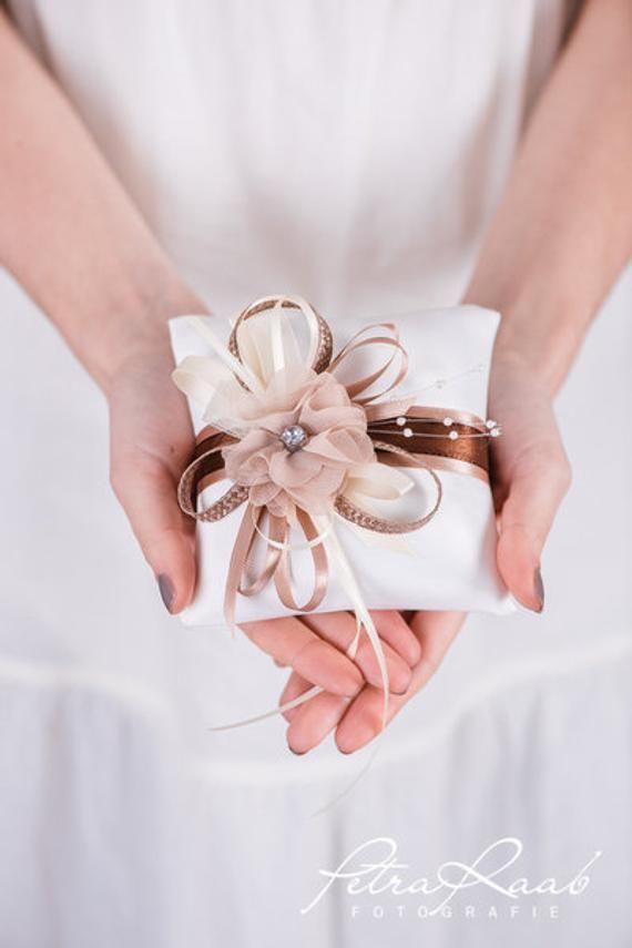 K6 Ringkissen Hochzeit Schleife Spitze Elfenbein Boho Deko Ivory