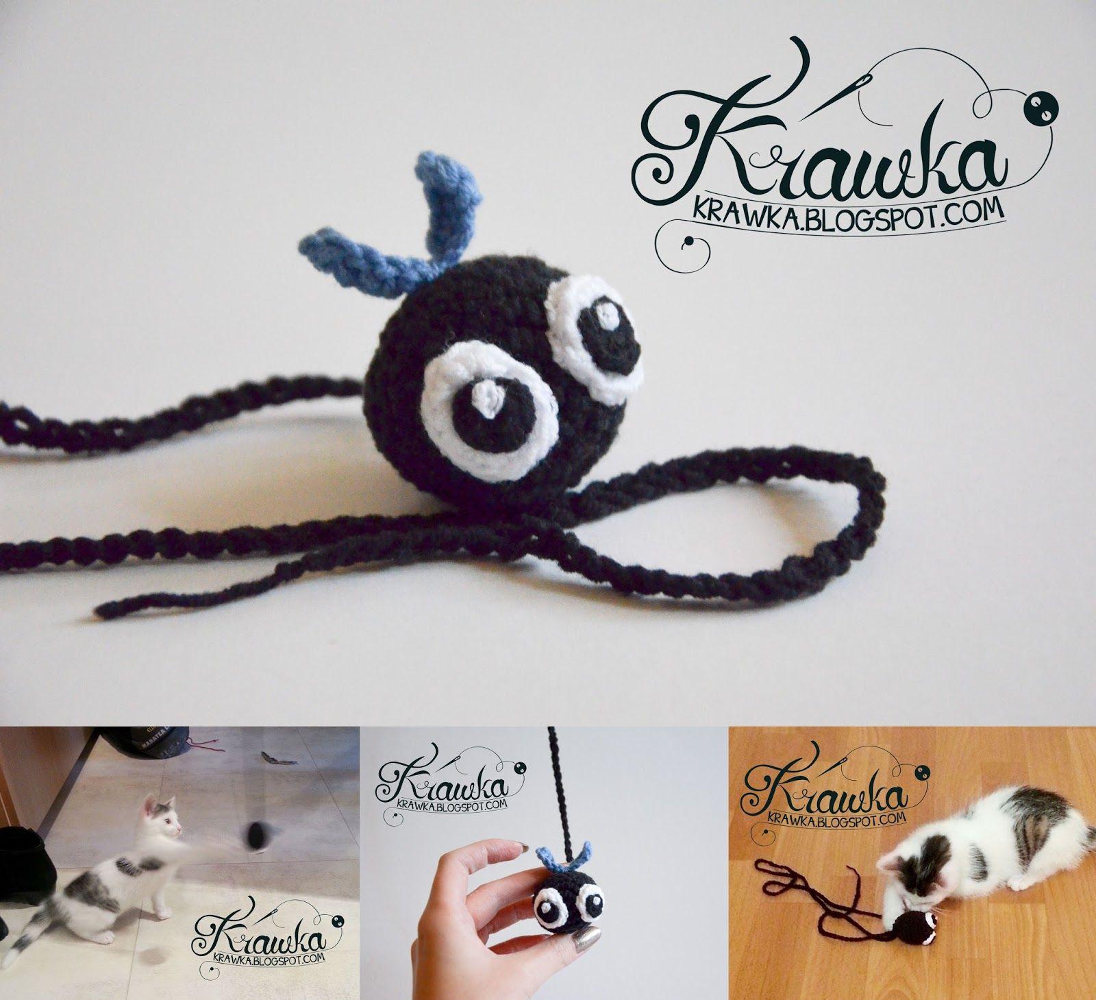 FLY crochet cat toy free pattern by Krawka   Bookmarkers   Pinterest ...