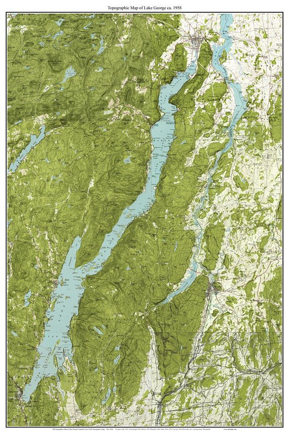 map of lake george ny area Lake George 1958 Usgs Old Topographic Map Custom Composite Lake map of lake george ny area