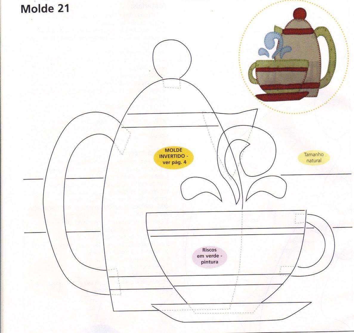 tea cup and pot applique | Dibujos | Pinterest | Molde, Apliques y ...