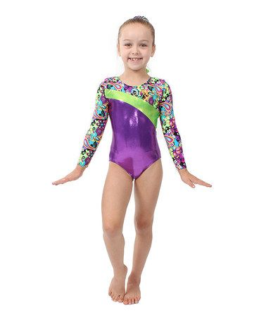 587a260e6 This Purple Paisley Flower Power Long-Sleeve Leotard - Toddler ...