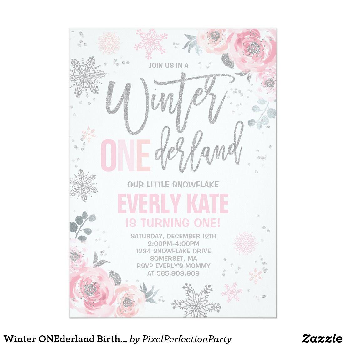 Winter Onederland Birthday Invitation Pink Silver Zazzle Com