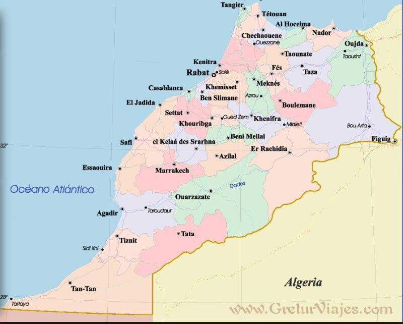Mapa De Marruecos Ciudades.Principales Ciudades Marroquies Marruecos Mapas Y Mapa