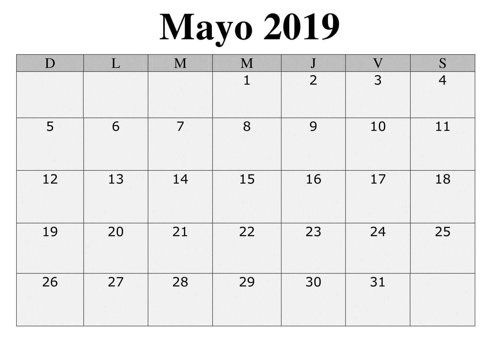 Mayo Modelo Calendario