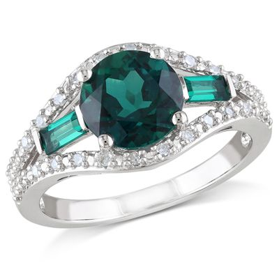 Zales 8.0mm Lab-Created Emerald, White Sapphire and 1/10 CT. T.w. Diamond Ring in Sterling Silver