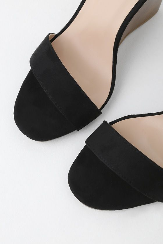 728011778e4 Lulus | Ramona Black Suede Wedge Sandal Heels | Size 10 | Vegan ...