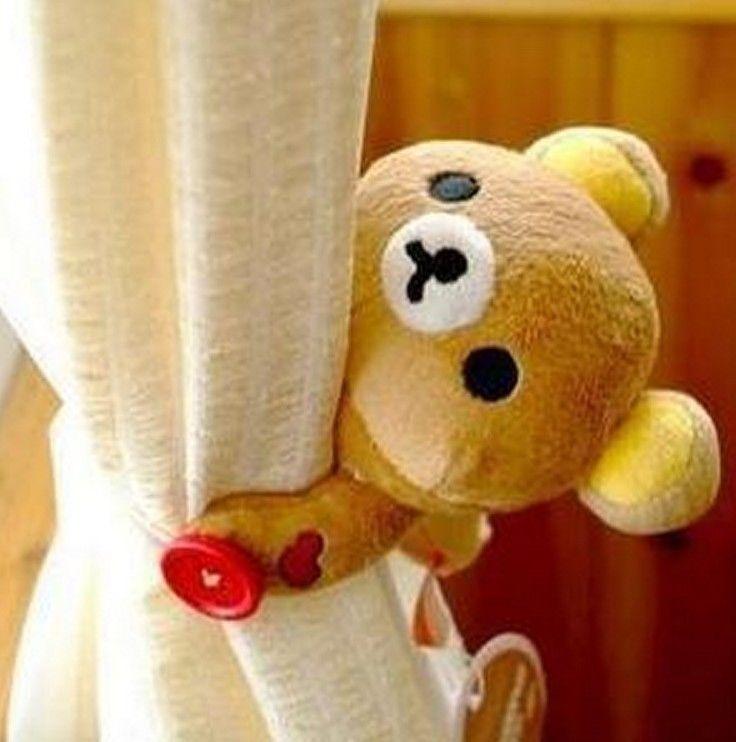 KT55 Rilakkuma San-X Cute Bear Plush Curtain Buckle Decorative Cute Gift ~2pcs~