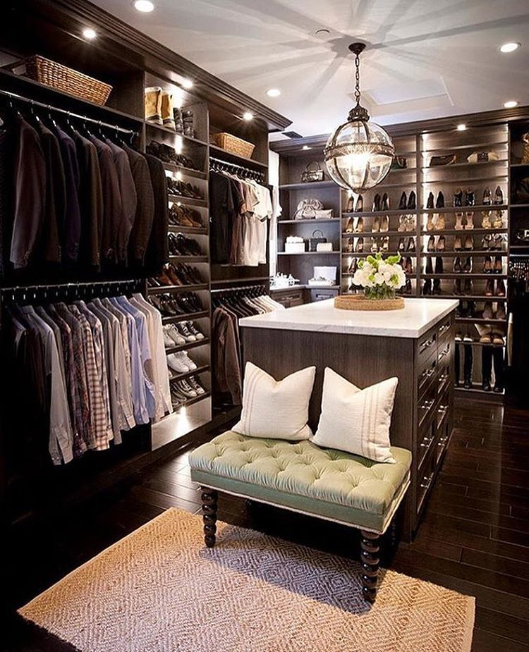 Closet For Him Custom Walk In Features Dark Stained Built Ins Boasting Shelves Over Stacked Clothes Rails Flanking Sloped Shoe Accented With