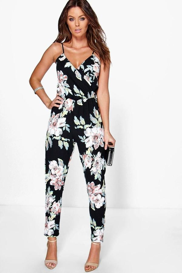d3b36b5ead boohoo Fiona Floral Print Cami Wrap Strappy Jumpsuit