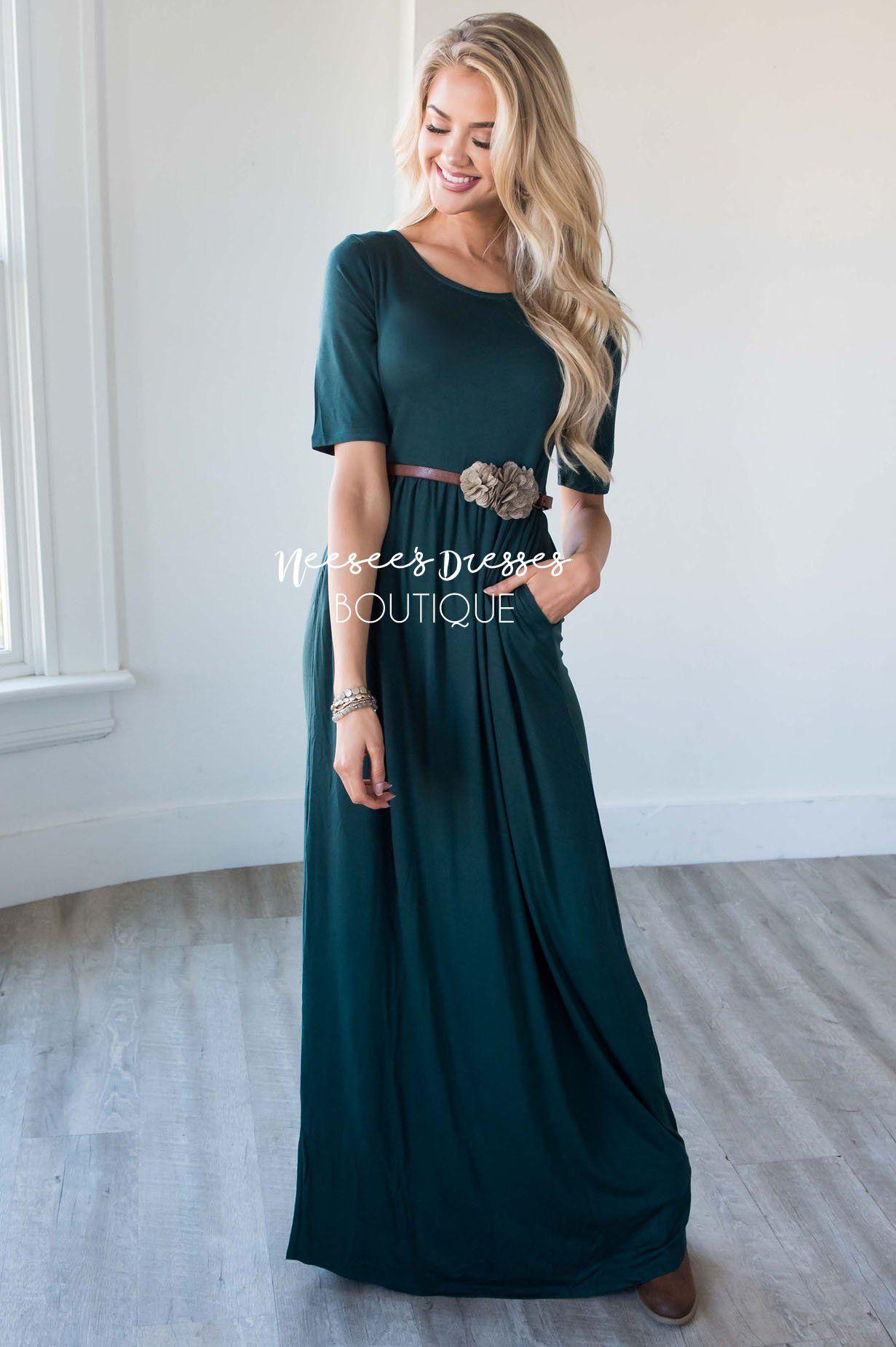 5b9faeb9f8aa Emerald Maxi Pocket Dress | Best Place To Buy Modest Dresses Online -  Neesee's Dresses