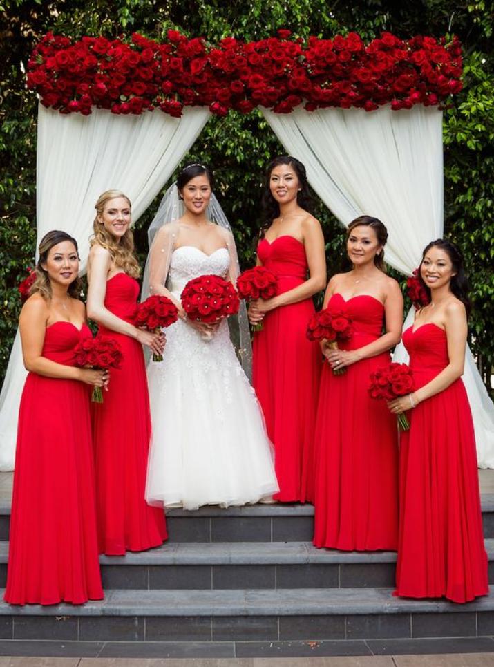 Red Bridesmaid Dress Sweetheart Bridesmaid Dresses Chiffon Long