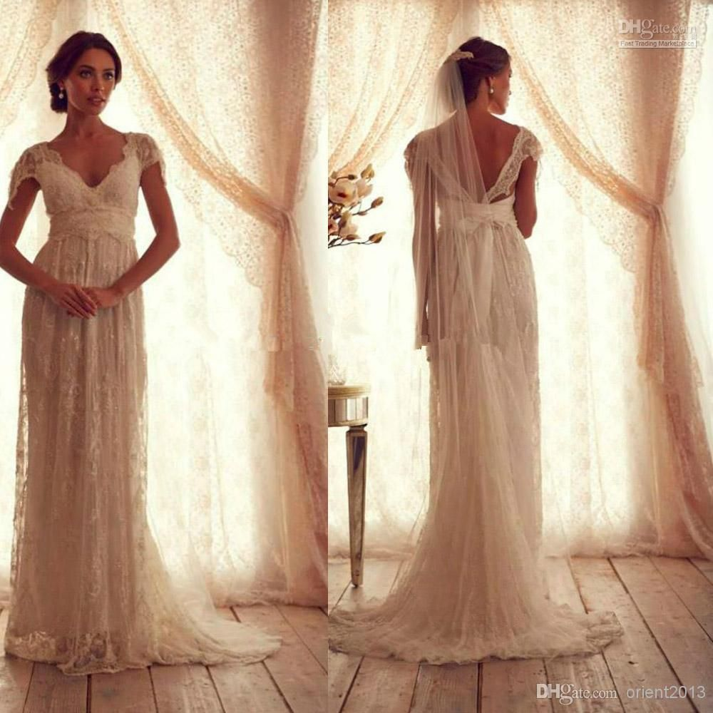 Wholesale Vintage Lace Wedding Dress With Short Sleeves Anna Campbell  Gossamer V Neck Empire Waist Long Bow Backless Bridal Gowns 6fc2ebecd030