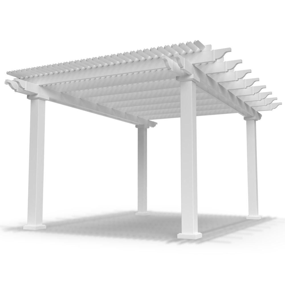 Modernpergolakits Modern Pergola Kit Traditional 12 Ft X 16 Ft Freestanding Pergola With 7 In Square Posts Trad12x16f7inch The Home Depot Vinyl Pergola Modern Pergola Pergola Kits
