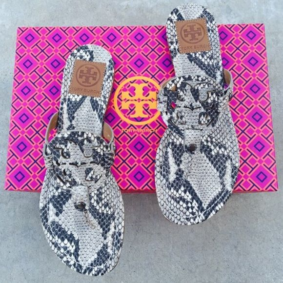 {Tory Burch} Snake-skin Miller The most popular Miller from Tory Burch. Brand new in box. Please be familiar/know your own Tory Burch size before purchasing. ❗️Price is firm, even when bundled❗️  ❌ No Trades/ No PayPal  ❌ No Lowballing  ✅ Bundle Discounts ✅ Ship Same or Next Day  % Authentic Tory Burch Shoes Sandals