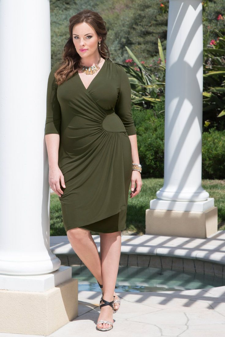 33fd0c4691 Introducing the BRAND-NEW green color of our popular plus size Ciara Cinch  Dress  Olive Martini. Do you want one olive or two   ) Shop www.kiyonna.com.