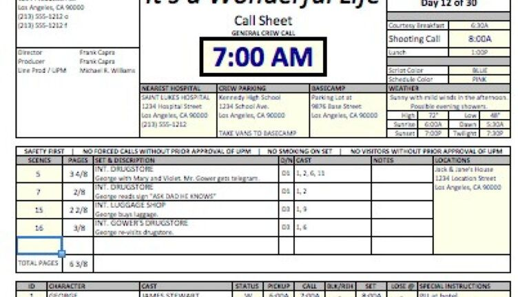 Call sheet template kostenloses event movie excel daily