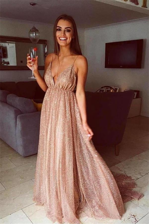 8b70cb3e92e1 Sequin Shiny Simple Spaghetti Straps Long A-line Prom Dresses Party Dresses  Z1750 #bohogown