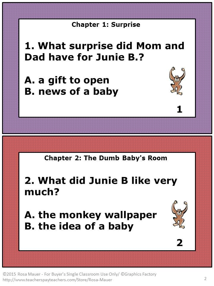 FREE Junie B. Jones! Use these task cards with Junie B. Jones and a ...