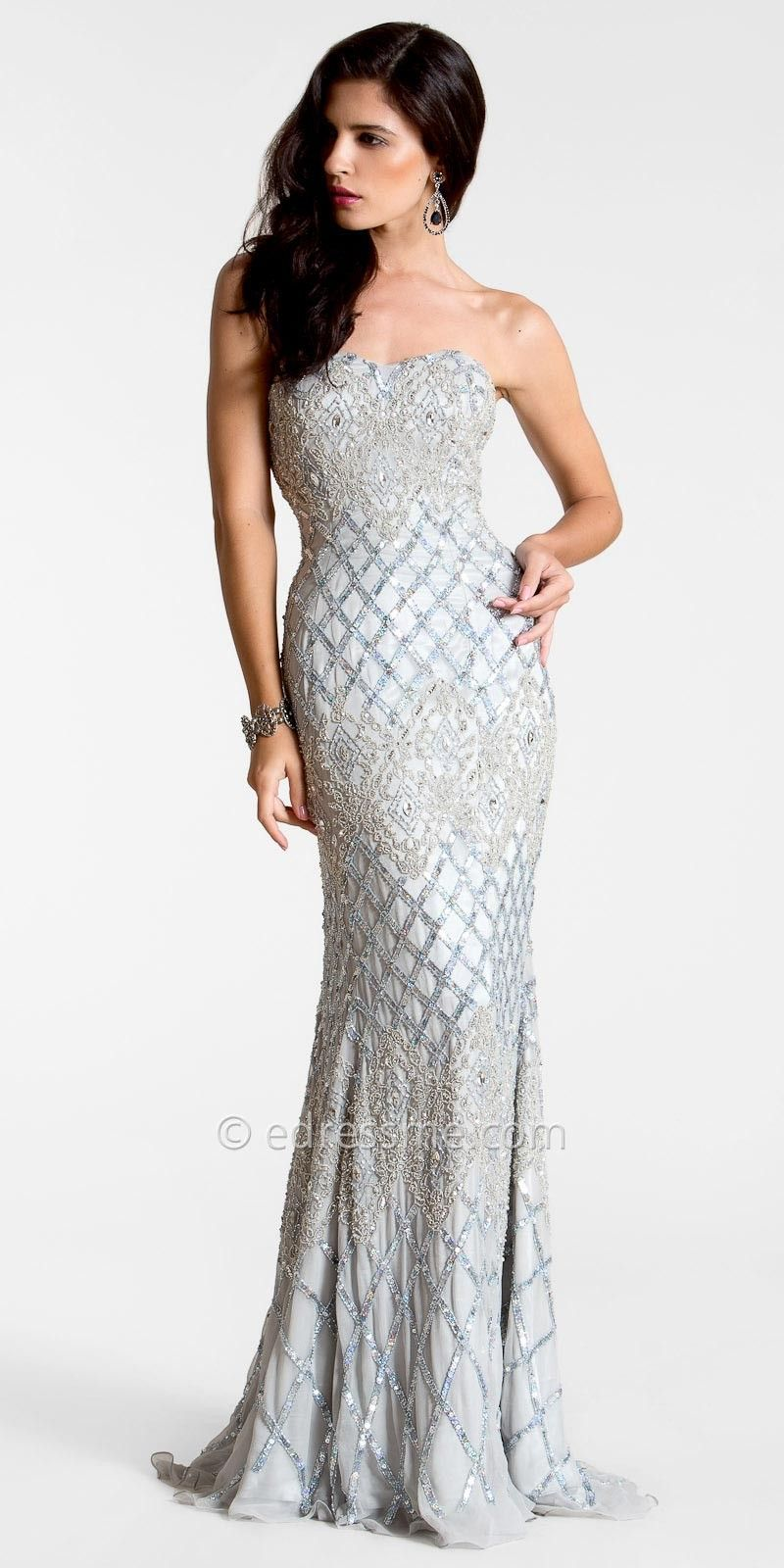 Silver Embellished Beaded Evening Gowns by Nika   BEAUTY ...