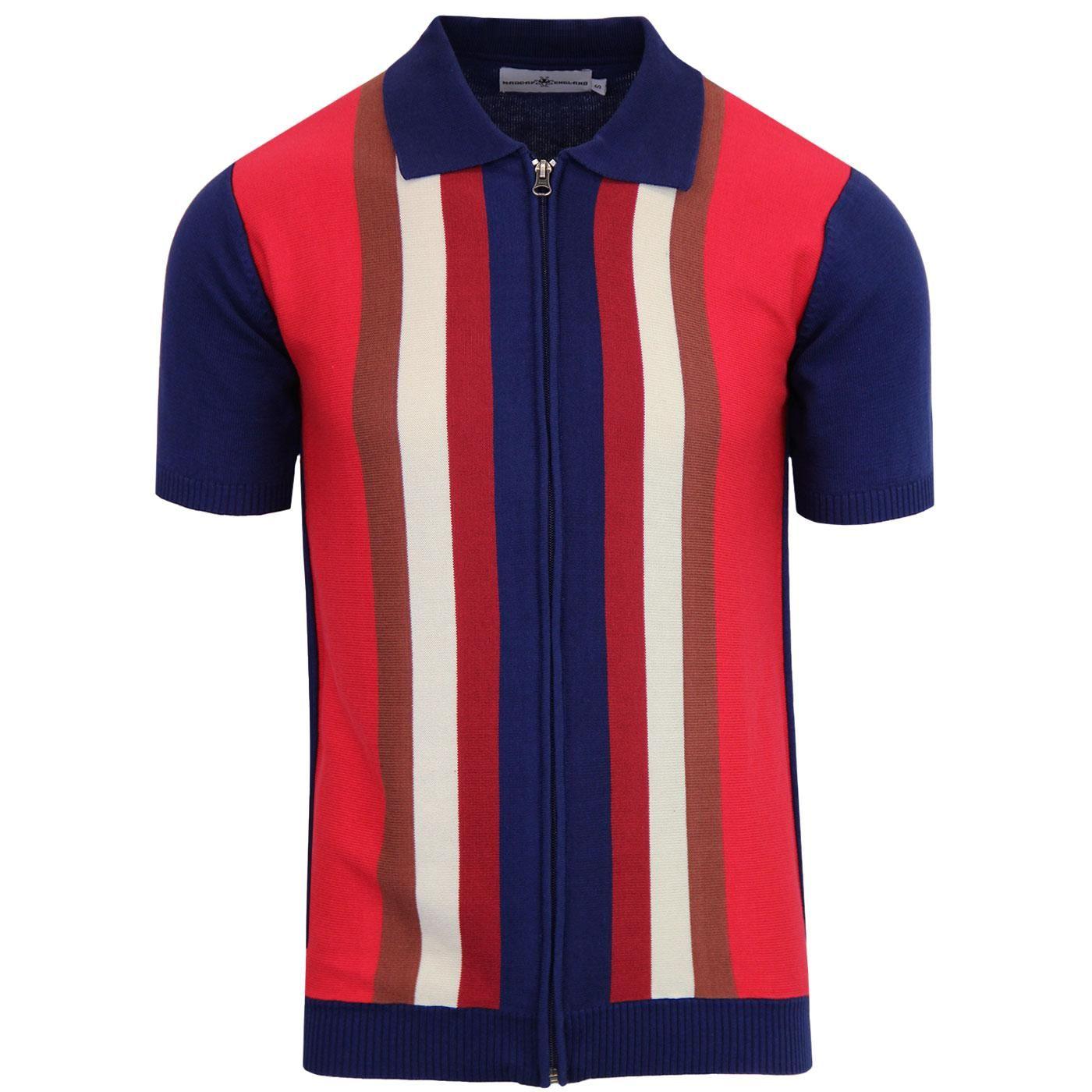 d7203ab731403 Madcap England Victor Mod Knit Stripe Zip Polo Cardigan Blue | Mens ...