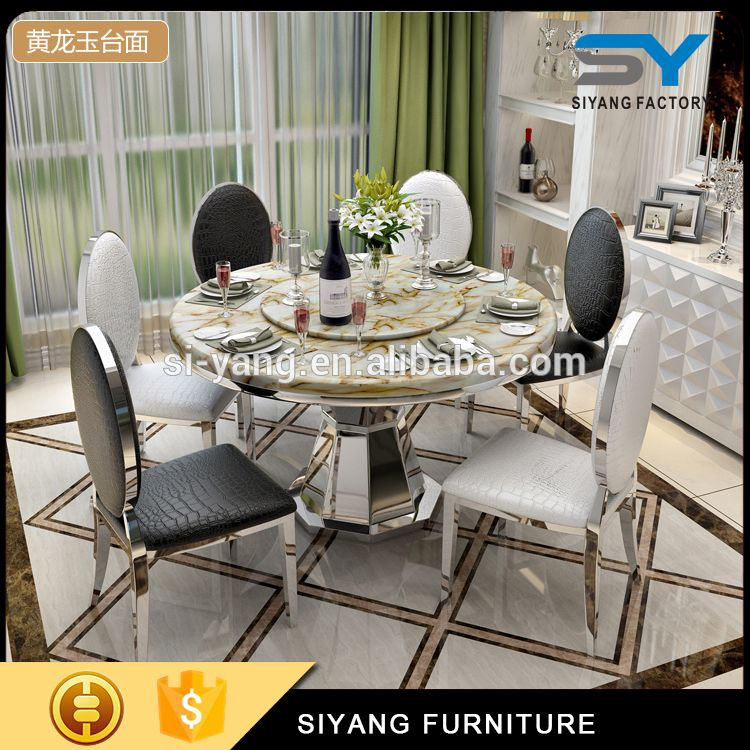 Royal Dining Set Kitchen Table Modern Stainless Steel Mirror