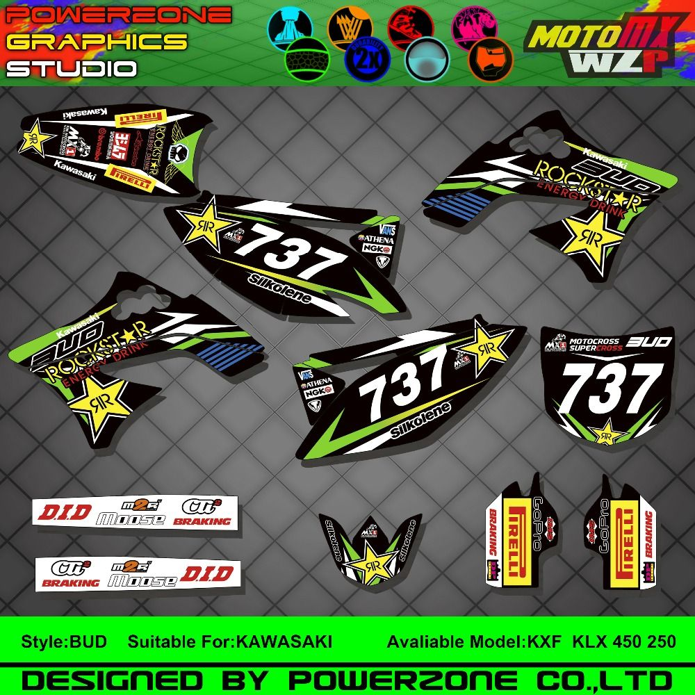 Customized team graphics backgrounds decals 3m custom stickers for kawasaki bud kx250f kx450f kxf klx 450 250