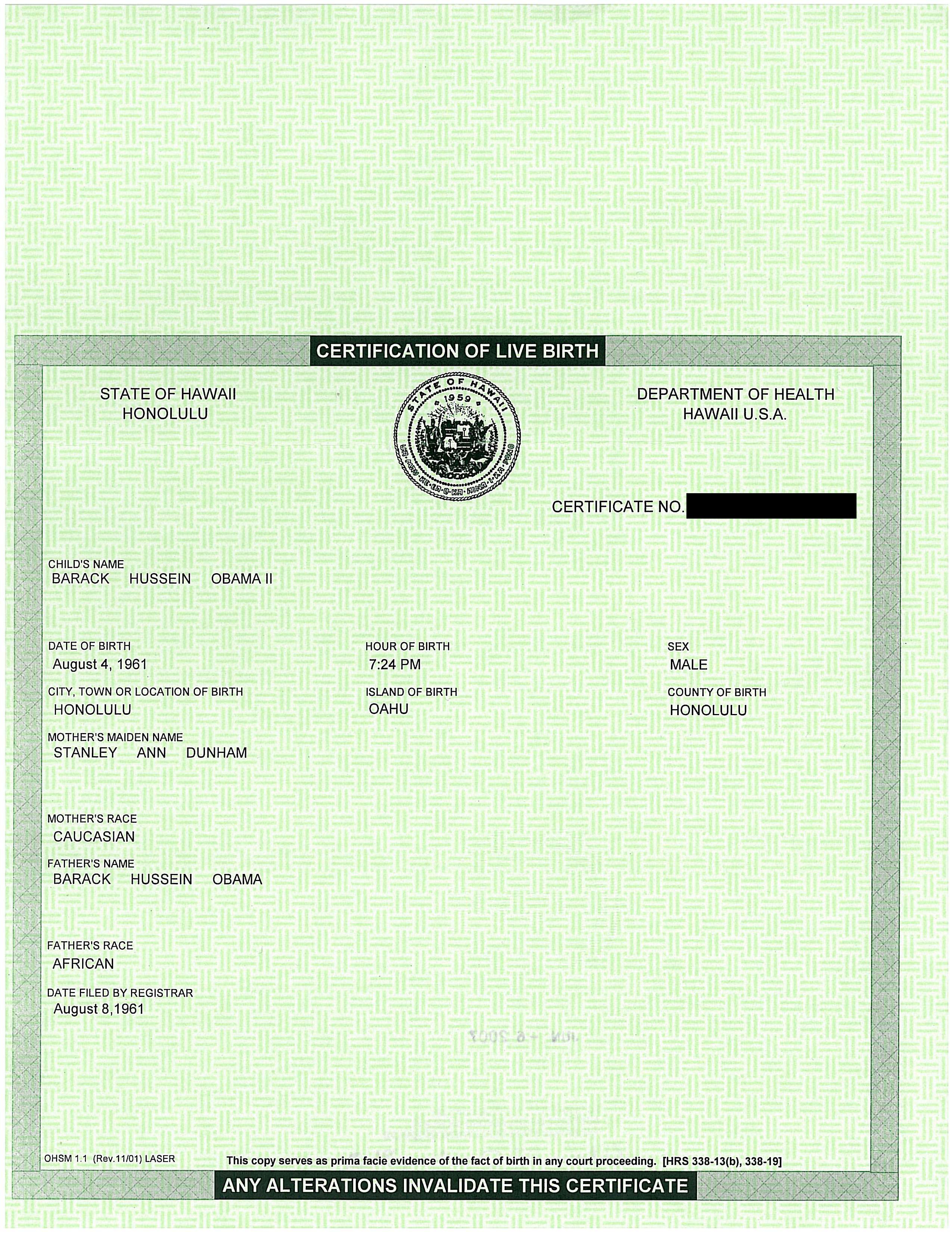 Hey Birthers Heres Obamas Birth Certificate Compare It To Cruzs